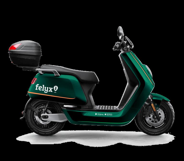 NIU-Roller im Flexy-Design in der Seitenansicht vor weißem Hintergrund